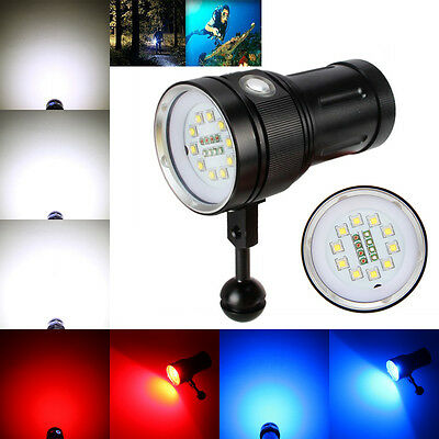 12000LM 10x XM-L2+4xR+4xB LED Photography Scuba Diving Flashlight Fishing Torch