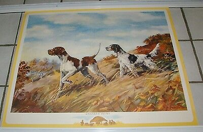 Large 1950's Print  German Shorthaired Pointer & Spaniel Hunting Scene Fenelle