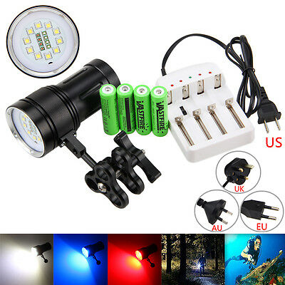 12000LM 10xXM-L2+4xR+4xB LED Photograph Video Scuba Diving 100M Flashlight Torch