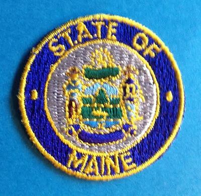Rare Maine State Seal Flag Iron On Hat Jacket Biker Vest Travel Patch Crest