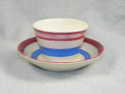 Antique Blue & Red Stripe Child's Handleless Cup & Saucer