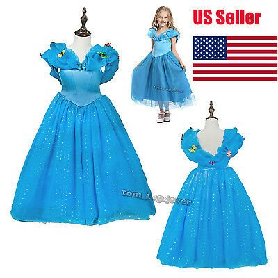 Cinderella Dress For Disney Princess Gown Girls Fancy Costumes Party 3-8 Years
