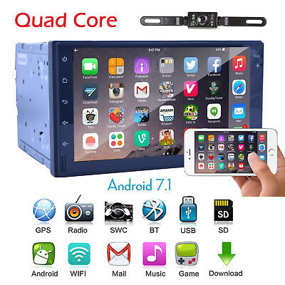 """GPS Navi Android7.1 7"""" HD Touch Screen 2Din Car Stereo WiFi 4G BT SD+Camera"""