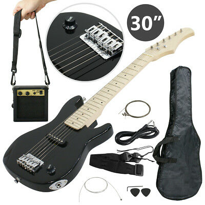 """Electric Guitar Kids 30"""" Black Guitar With Amp + Case + Strap and More New"""