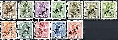 Luxembourg Officials of 1922 Used Set of 12 Scotts O114 – O121 O124-5 O127 O129