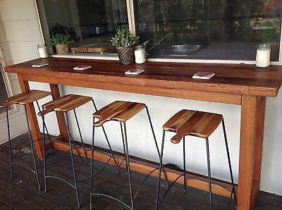 **new Unstained Solid Outdoor Timber Bar Table Hardwood Dining Bench Stool