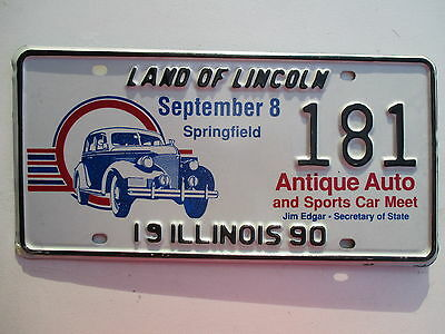 1990 Illinois Antique & Sports Car Meet #181 special event license plate