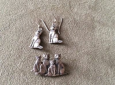 Cat And Kittens Brooch And Pierced Earrings Vintage Sterling Silver