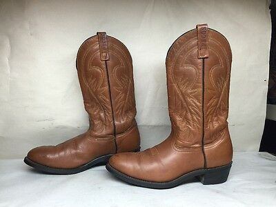 Vtg Mens Red Wing Pecos Steel Toe Cowboy Work Leather Brown Boots Size 11 D