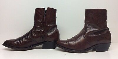 Mens Walker Cowboy Leather Brown Boots Size 8 D