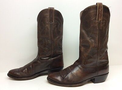 Vtg Mens Unbranded Cowboy Leather Brown Boots Size ?