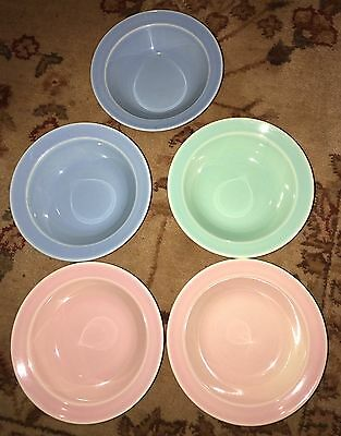 Vintage 5 LuRay Berry Bowls - Green Blue & Pink
