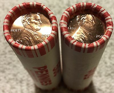 2017-P&d Lincoln Shield Cent 2 Roll Set Bu Fresh From The Mint Wow