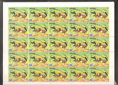 3 x Grenada 1986 Walt Disney Cartoon Characters Playing Baseball Complete Sheets