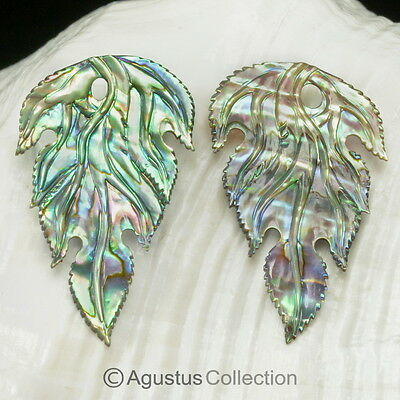 Multicolor PAUA ABALONE SHELL Iridescent Floral Design Earring PAIR 2.60 g