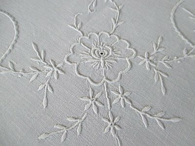 Antique Madeira Tablecloth-Hand Embroidered-All White-Linen