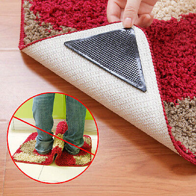 Rug Carpet Mat Grippers Non Slip Anti Skid Reusable Silicone Grip Pads Black
