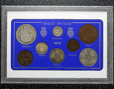 1918 George V Coin Set Great Britain ~ Farthing to Halfcrown ~ Cased