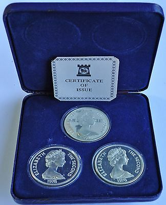 1978 ST. HELENA, ASCENSION, TDC, 25th ANNIVERSARY, SILVER PROOF 3 COIN SET & COA