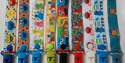 SESAME STREET / ELMO  / COOKIE Dummy Clip / Dummy Clips / Pacifier Clips / Chain
