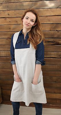 Pinafore apron made of 100% linen, cross back