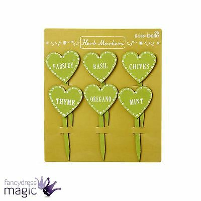 Sass & And Belle Set Of 6 Heart Shaped Wood Herb Garden Markers Stakes Home Gift