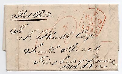 1833 entire letter Dorking Surrey to London red Tombstone receiving & red P 1/-
