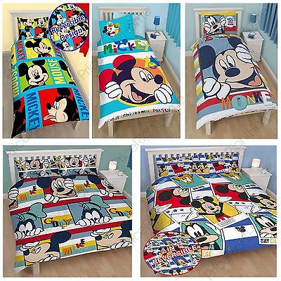 Mickey Mouse Duvet Cover Sets Available In Single & Double Various New Designs!