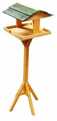 TRADITIONAL FREE STANDING WOODEN BIRD TABLE GARDEN BIRDS FEEDING STATION Bargain