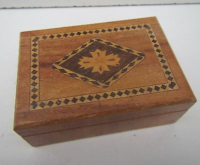 Vintage Small Wooden Box - stamped Foreign