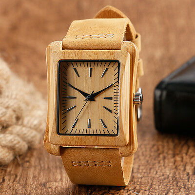 Fashion Wrist Watch Men Women Square Nature Bamboo Wooden Case Genuine Leather