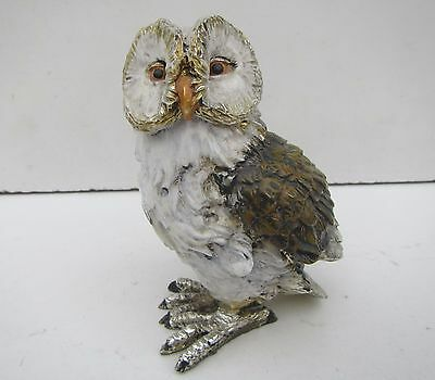 Vintage Painted Brass Owl Figurine