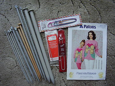Knitting Selection. 6 Pairs Needles,Stitch Holders,round needle and Pattern.