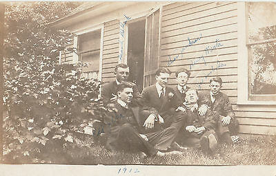 6 Young Men Signed American Jazz Music Band? Usa Aazoa Marked Postcard 1912