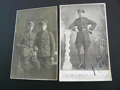 2 x Real Photo RP Postcards - Army Service Corps soldiers - Hubby