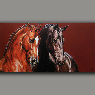 ROYAL RED - ANDALUSIAN HORSE DUET ORIGINAL PAINTING Hand painted JOART Unique