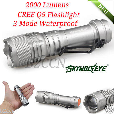 NEW 2000LM CREE Q5 3 Modes ZOOMABLE LED Flashlight Torch Lamp Light G