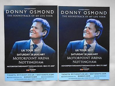 DONNY OSMOND Live The Soundtrack of my Life 2017 UK Arena Tour Promo flyers x 2