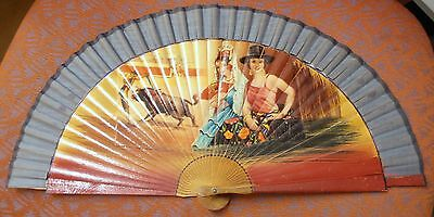 1940s/50s handpainted wooden fan Bull Fighter and Flamenco Dancers.