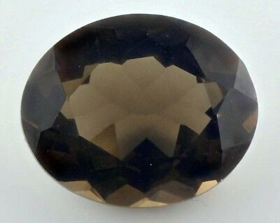UNUSUAL 12x10mm OVAL-FACET NATURAL AFRICAN SMOKEY QUARTZ GEMSTONE £1 NR!