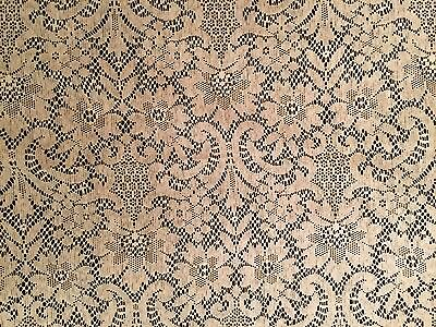 Antique 1930 Lace Curtain white cotton Flowers Scrolls 1 yard 1 x 1 yard 7