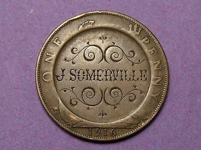 George V Penny 1916  - Engraved With ''j . Somerville ''  Engraved Coin
