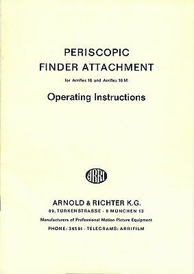 Operating Instructions – Periscope Finder Attachment For Arriflex 16 & 16M