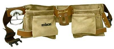 Rolson Gold Line Double Tool Belt 11 Pocket Brown Split Leather Profesional Id49