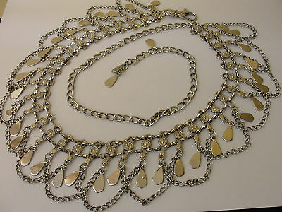 Vintage Silver Tone Double Linked Textured Medallion Draped Chain Belt