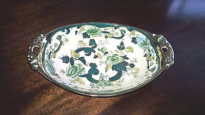 Masons Ironstone  Chartreuse Oval Dish with handles