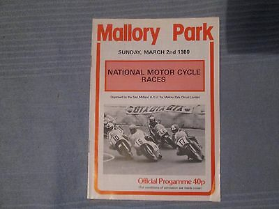 NATIONAL ROAD RACES MALLORY PARK SUNDAY MARCH 2nd 1980 OFFICIAL PROGRAMME