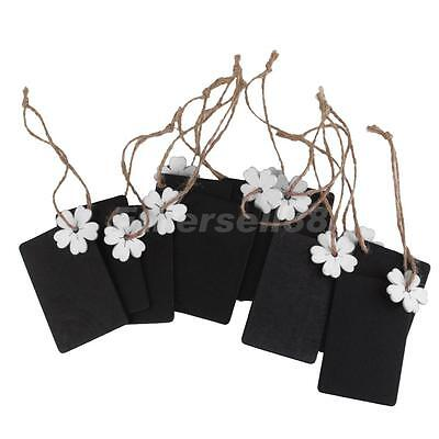10 Wooden Mini Chalkboard Hanging Tag Wedding Gifts Party Favors White Flowers