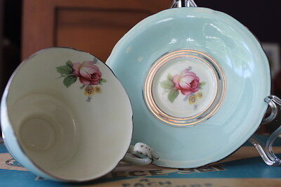 DOUBLE PARAGON ENGLAND PINK ROSE ON MINT GREEN CORSET SHAPED Teacup and Saucer