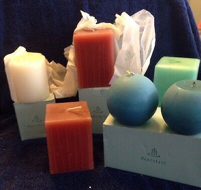 """Lot 6 Partylite Candles 2 Exotic Spice  2 3"""" Woodland Spice 1 French Vanilla"""